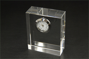 NKTRペーパーウェイトクリスタル時計(角)