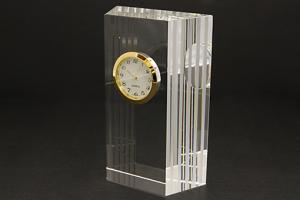 クリアブロッククロック:ガラス製置時計