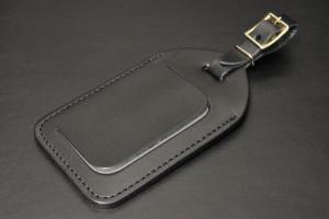 199-03R牛革製バッグタグ(黒)