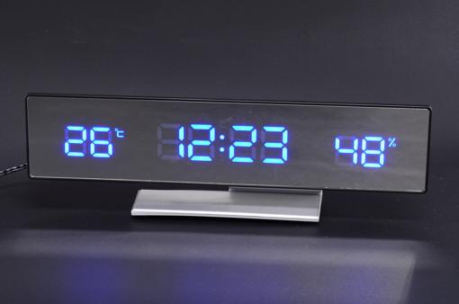 電波LEDミラークロック【1202-s0362】