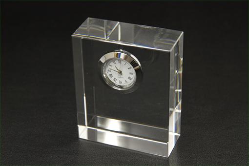 NKTRペーパーウェイトクリスタル時計(角)【1027-s0191】