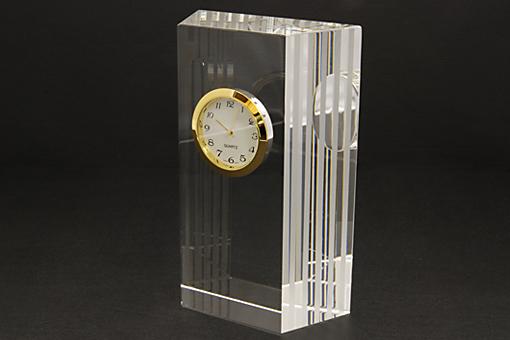 クリアブロッククロック:ガラス製置時計【1014-s0253】