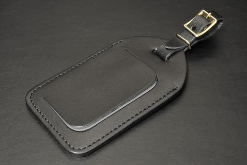 199-03R牛革製バッグタグ(黒)【1449-s0466】