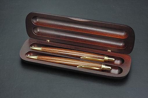 A31-03木軸ケース入り木製ボールペン、シャープペンセット レトロ【1406-s0545】