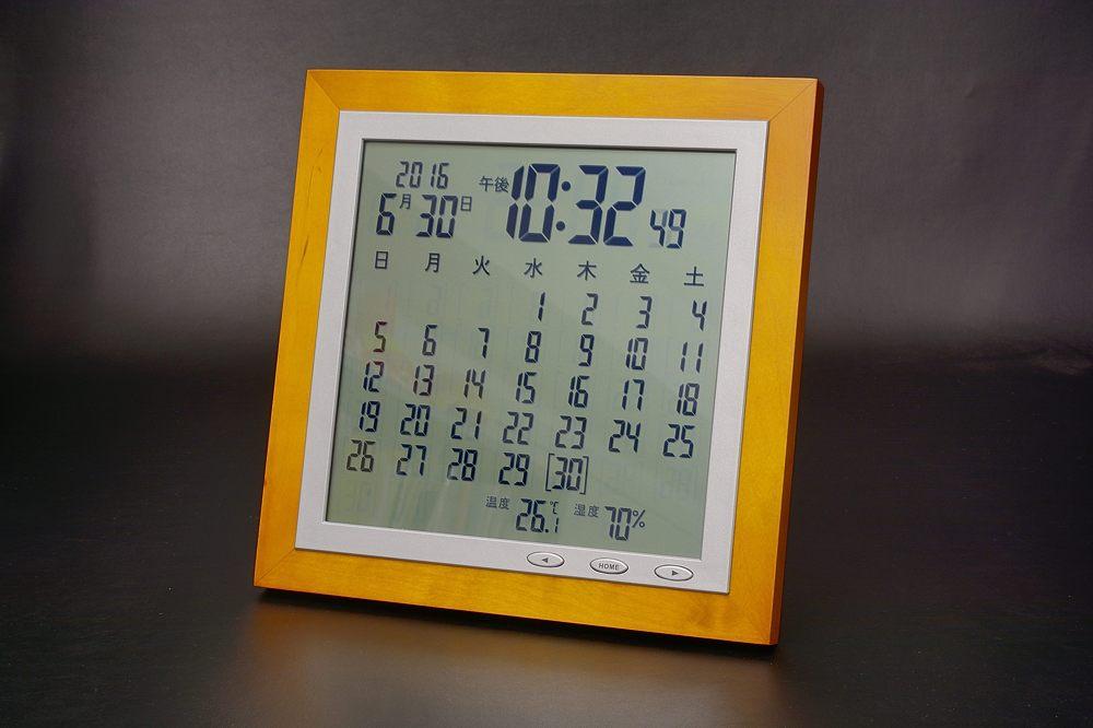 TSB-363木枠カレンダー電波時計【1601-s0661】