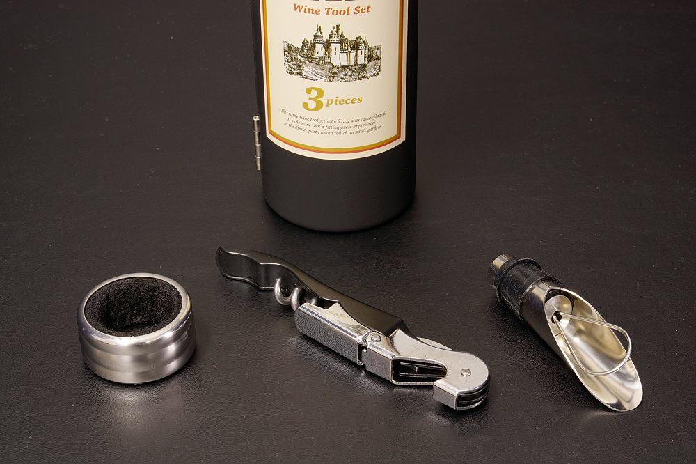 E54-01ワインボトル型ワインツール3Pセット【1622-s0700】
